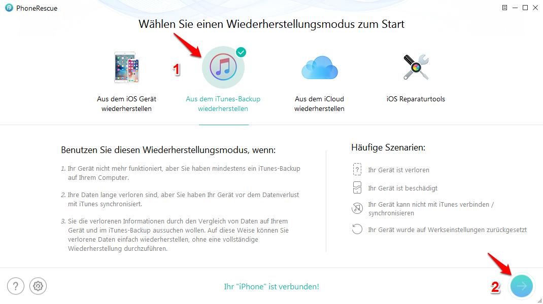 iPhone Backup wiederherstellen Fehler - Schritt 2