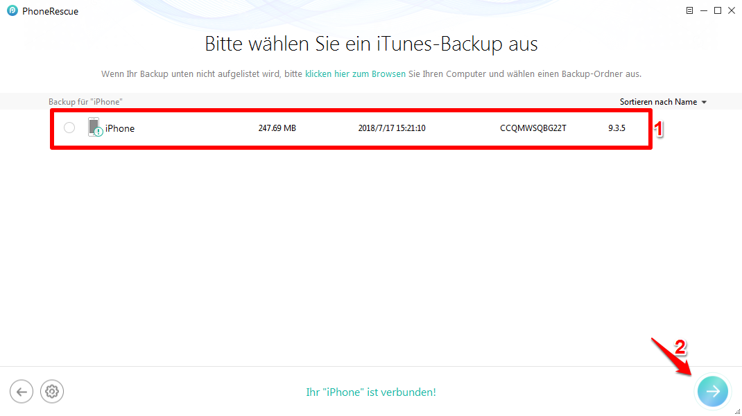 iPhone Backup defekt - Schritt 3