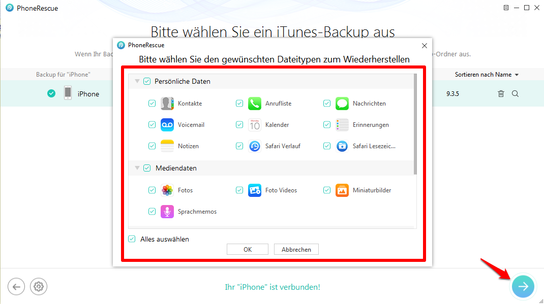 iPhone Backup reparieren - Schritt 4
