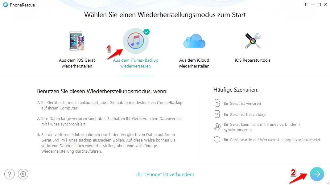 iPhone Backup wiederherstellen geht nicht und was tun – Schritt 1
