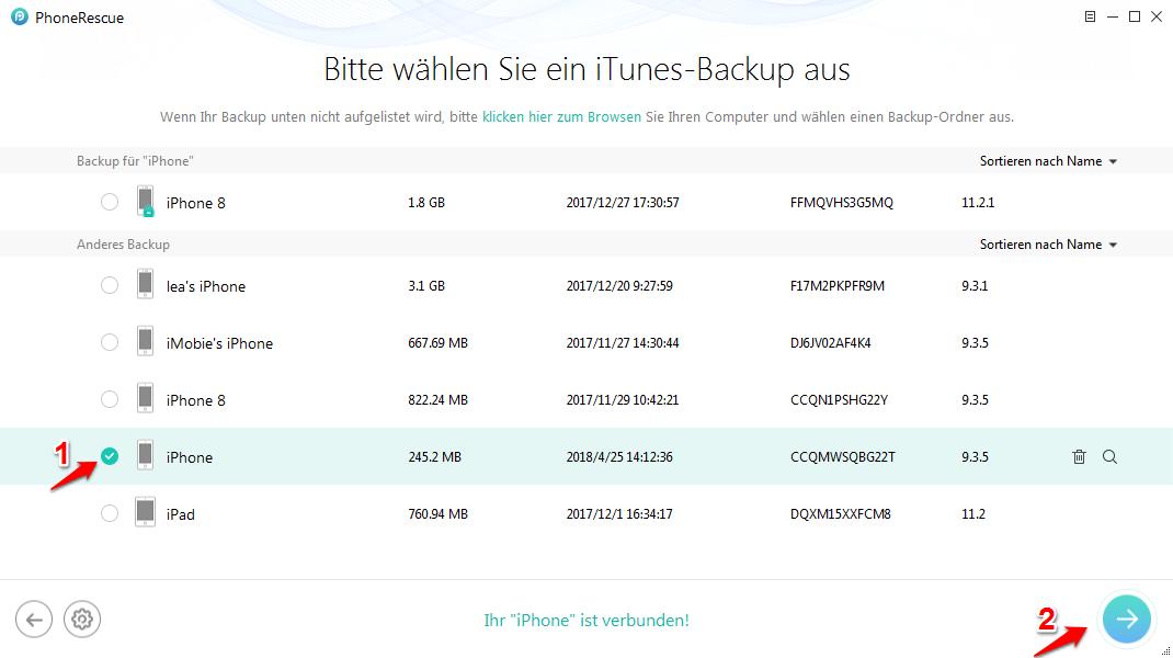 iPhone aus Backup wiederherstellen geht nicht und was tun – Schritt 2