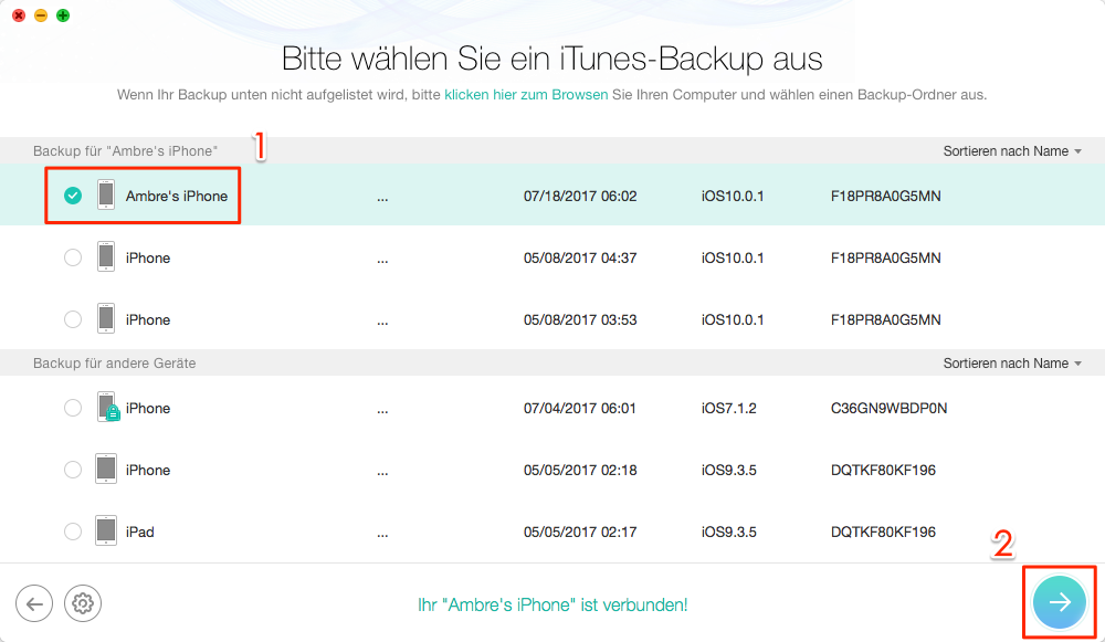 iPhone Backup auf neues iPhone - Schritt 2