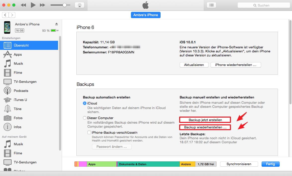 iphone backup wiederherstellen fehler