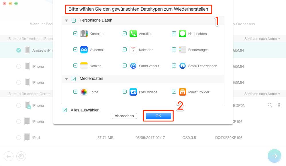 Dateityp von iTunes-Backup auswählen – Schritt 3