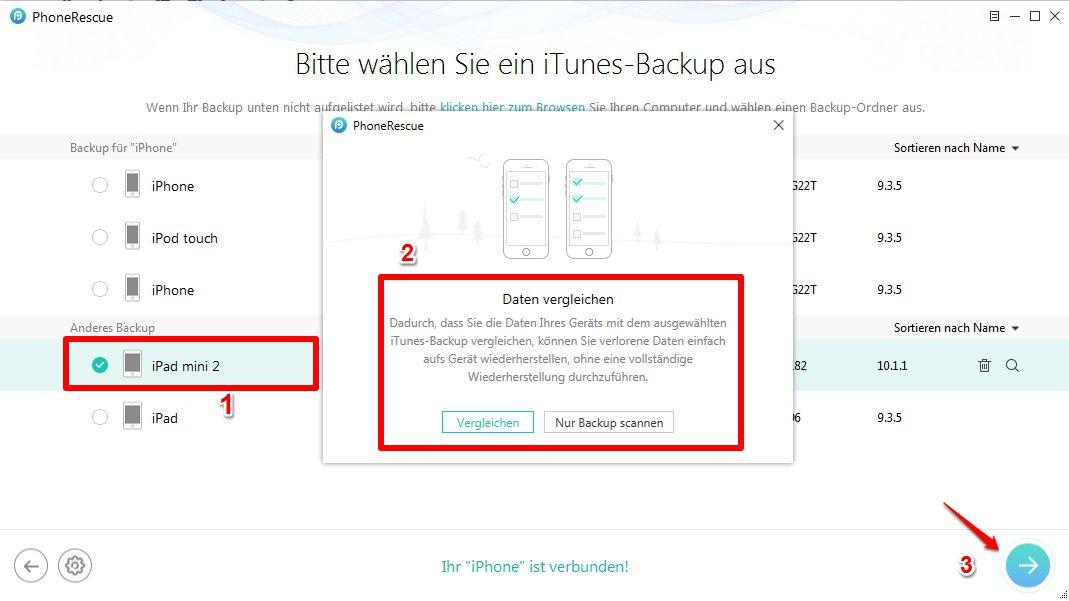 iPhone Fotos weg wiederherstellen - Schritt 2