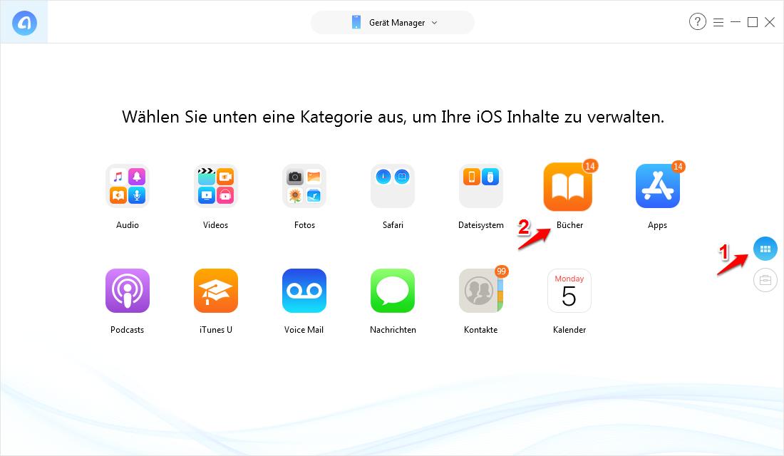"""AnyTrans starten und """"iBooks"""
