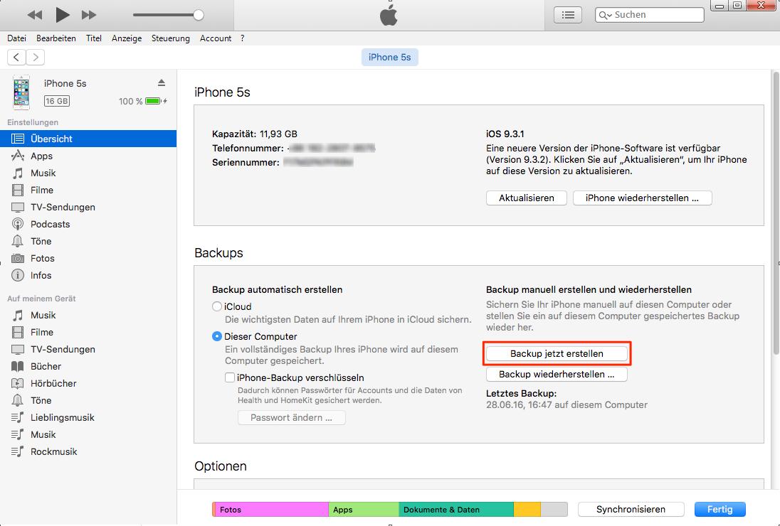 iPhone Daten mit iTunes auf PC sichern