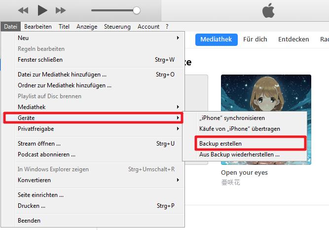 Altes iPhone Daten mit iTunes auf PC sichern