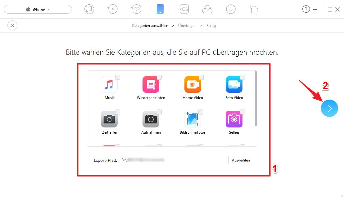 Alle iPhone Daten auf PC sichern