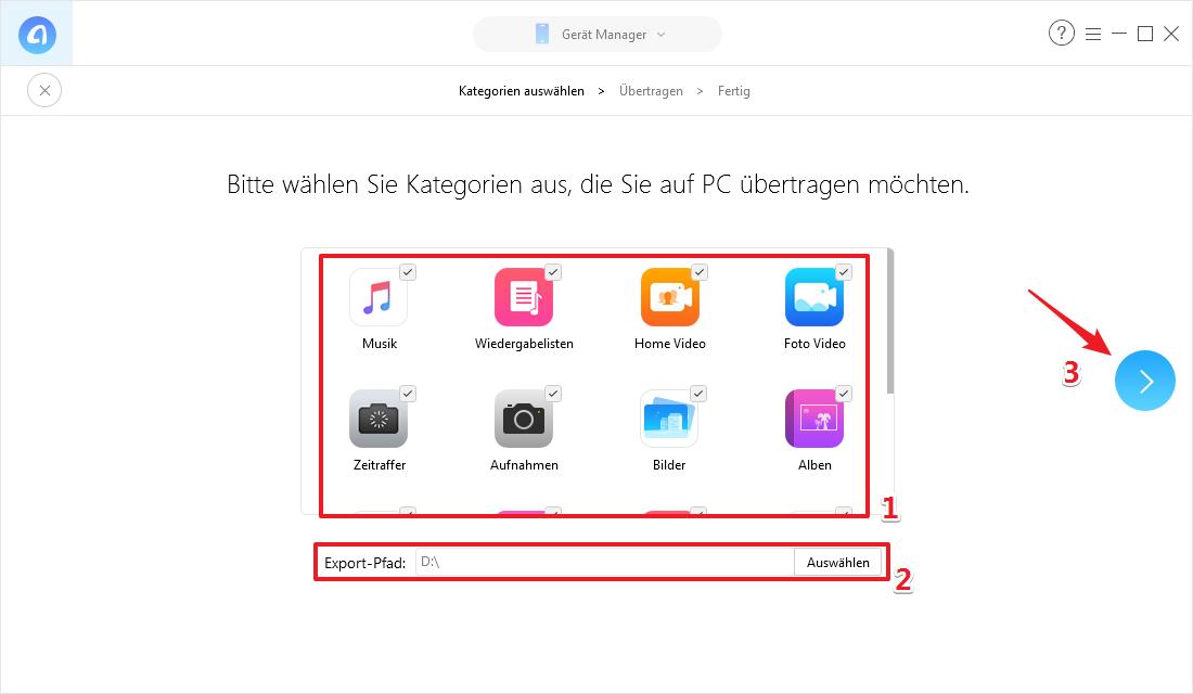 iPhone Daten auf PC übertragen ohne iTunes - Schritt 3