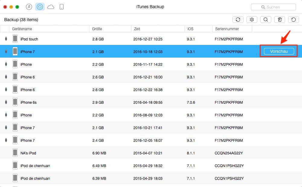 iPhone Datenrettung aus iTunes Backup – Schritt 2