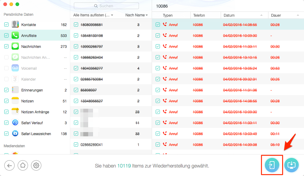 iPhone Daten ohne Backup wiederherstellen – Schritt 2