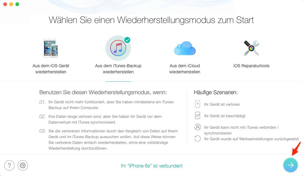 Datenrettung aus iTunes-Backup – Schritt 2