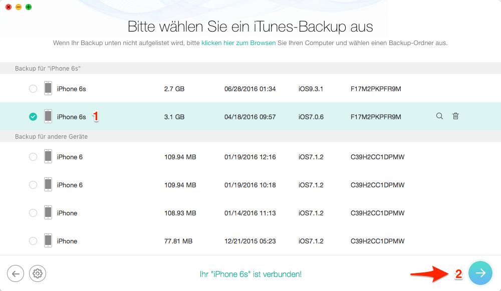iTunes-Backup vom iPhone auswählen – Schritt 3