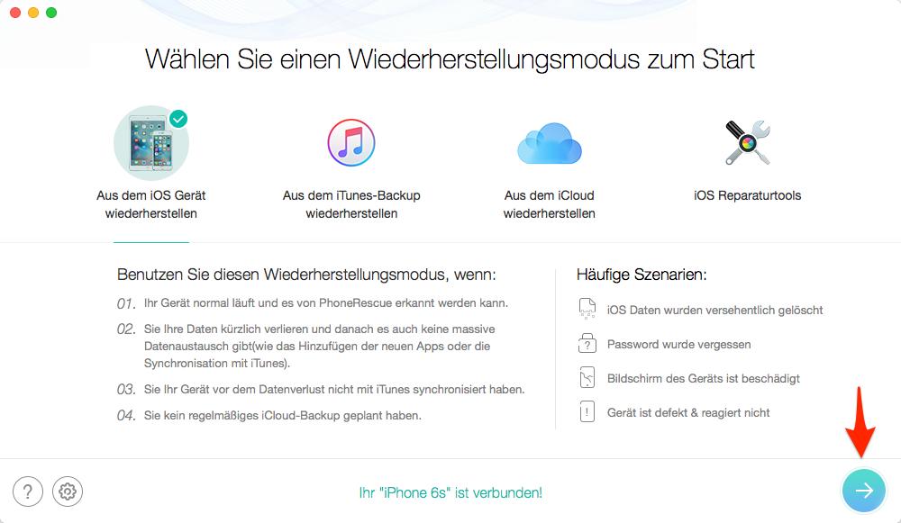 iPhone Datenrettung ohne Backup: PhoneRescue öffnen – Schritt 1