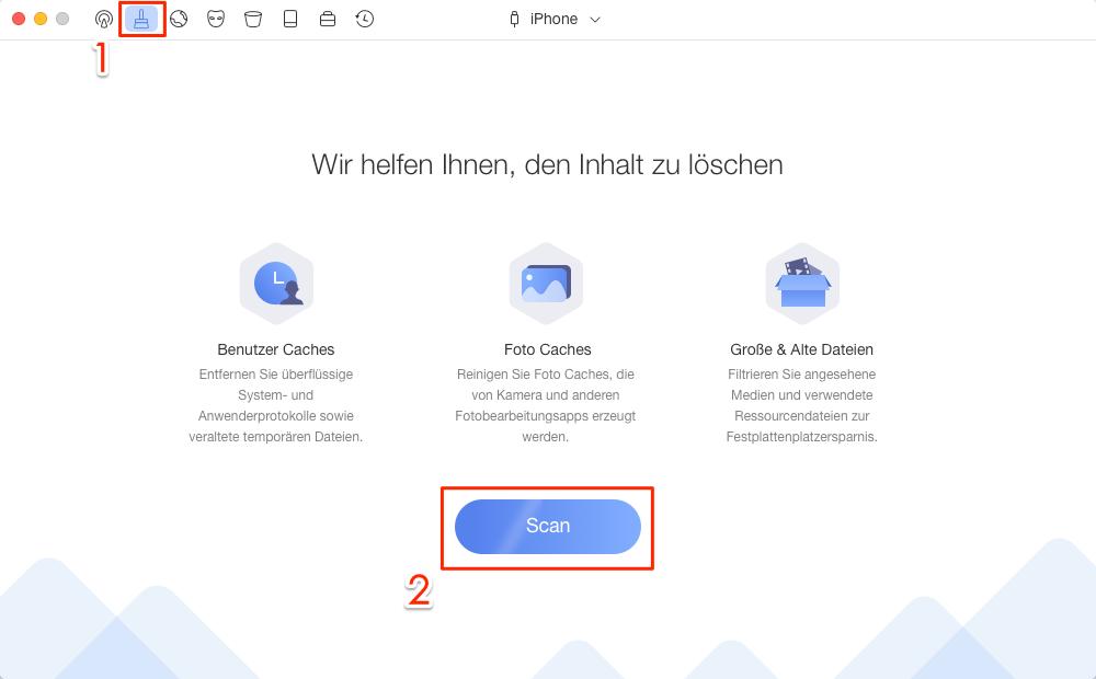 Schnelle Reinigung wählen und iPhone scannen lassen – Schritt 1