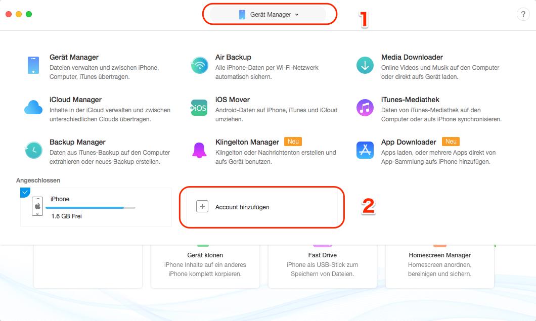 AnyTrans starten und iCloud-Account anmelden – Schritt 1