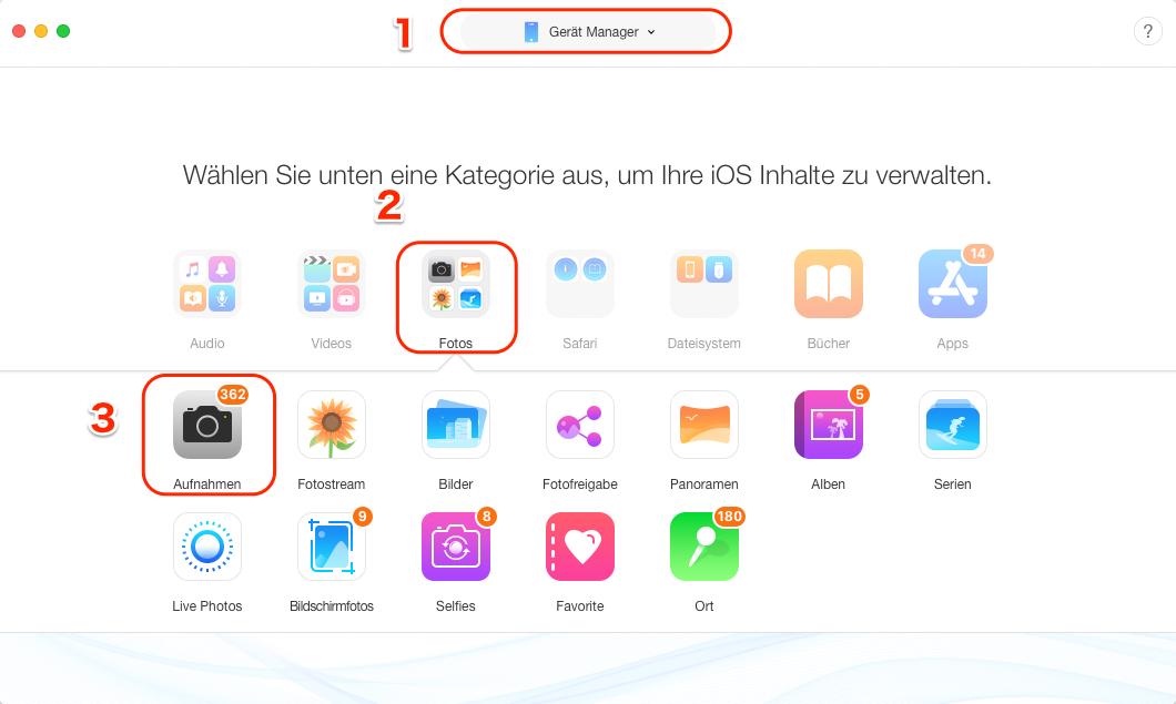 Fotos vom iPhone auswählen – Schritt 2