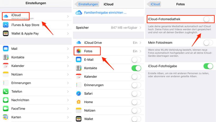 Fotos mit iPhone auf iCloud hochladen