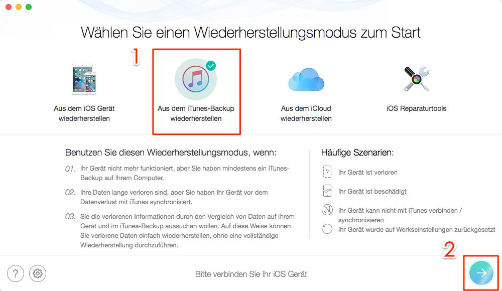 Fotos aus iTunes-Backup wiederherstellen – Schritt 1
