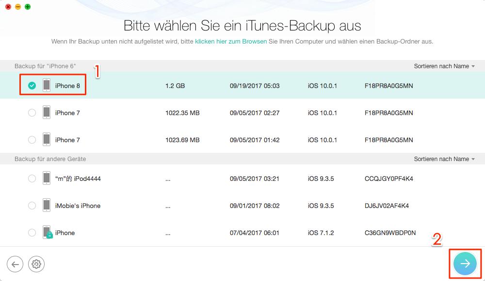 Fotos nach iOS 11 Update weg – Schritt 2