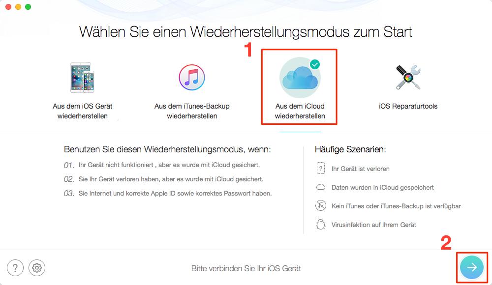 Verschwundene Fotos aus iCloud-Backup wiederherstellen – Schritt 2