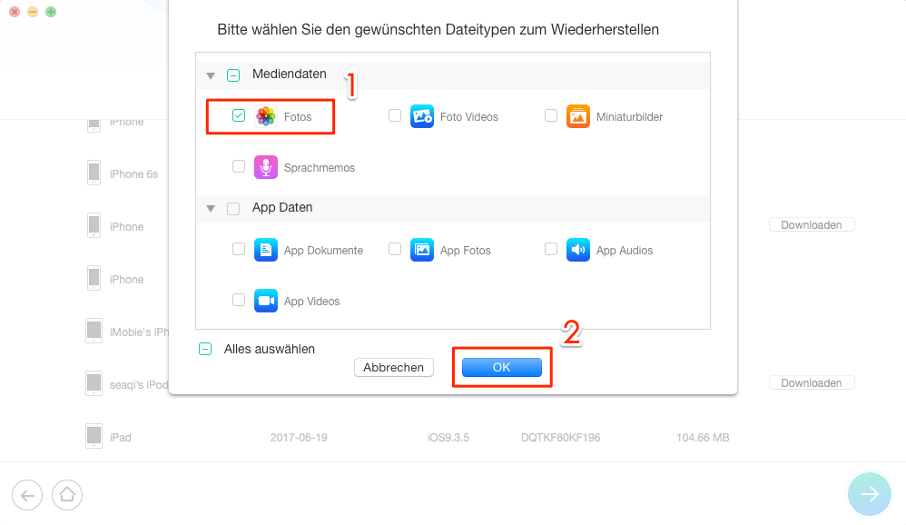 iPhone Fotos nach dem iOS 11/11.1 Update weg – Schritt 3