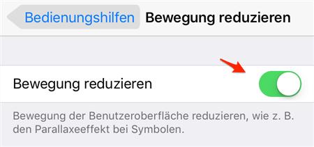 iPhone geht einfach aus - Bewegung reduzieren