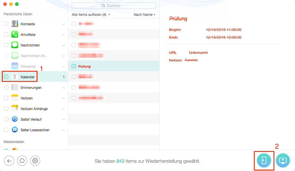 Gelöschte Kalender vom iPhone wiederherstellen - Schritt 2