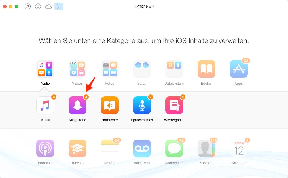iPhone Klingeltöne übertragen, ohne iTunes – Schritt 2