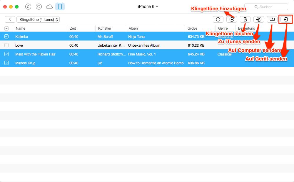 iPhone Klingelton auf iPad übertragen – Schritt 3