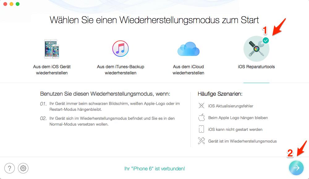 iPhone 7 hängt sich ständig auf iOS 11: iPhone im Recovery Modus was tun – Schritt 1