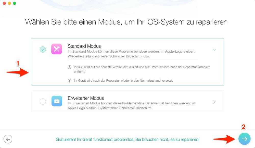 iPhone 7 hängt sich ständig auf iOS 11: iPhone hängt im Recovery Modus – Schritt 2