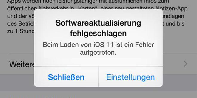 iOS 11 Probleme – Softwareaktualisierung fehlgeschlagen