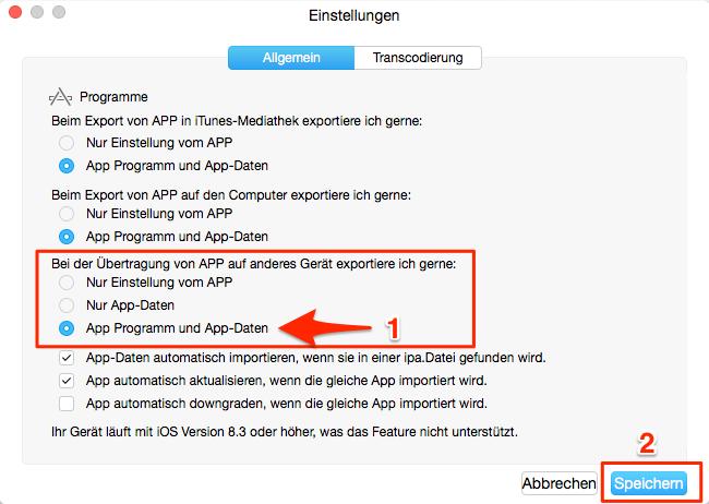 App und App Spielstände gleichzeitig übertragen – Schritt 5