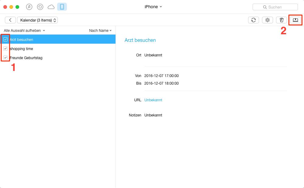 Die Ergebnisse von Kalender-App auswählen – Schritt 2