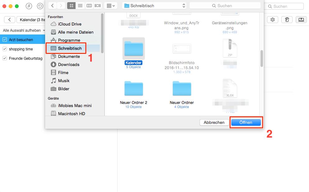 Richtig! iPhone/iPad Kalender exportieren – Schritt 3