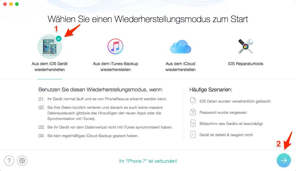 iOS gelöschte Safari Verlauf/Lesezeichen wiederherstellen – Schritt 2