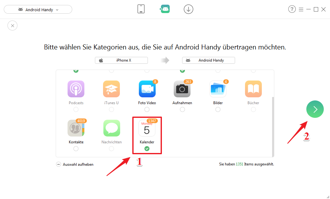 Kalender von iPhone auf Android – Kategorie wählen