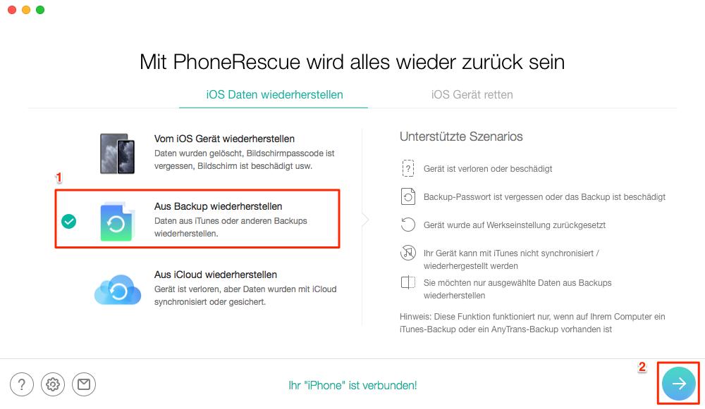 WhatsApp Chats wiederherstellen iPhone – Schritt 2