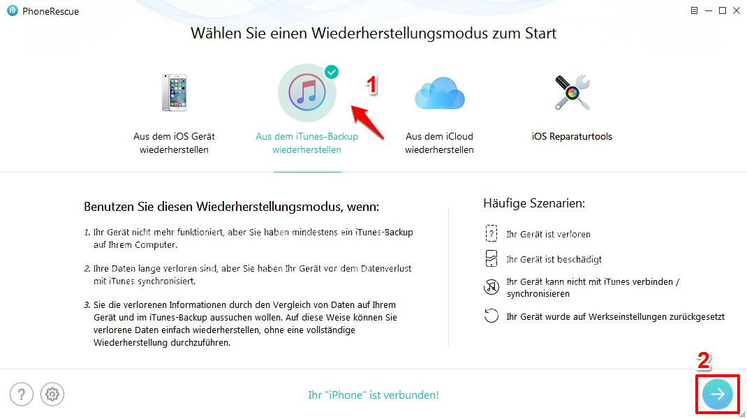 iPhone kaputt Fotos retten – aus iTunes Backup