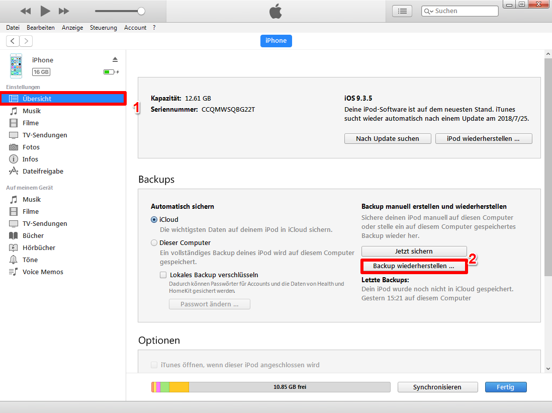 Kaputt Daten vom iPhone reparieren – Schritt 1