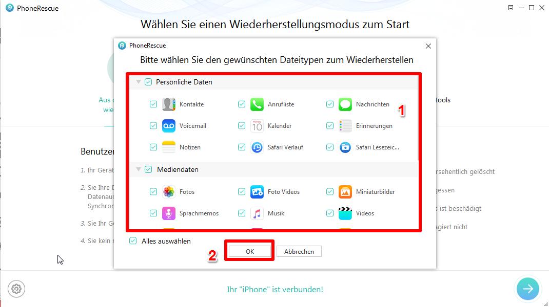 iPhone kaputt Daten retten - Schritt 2