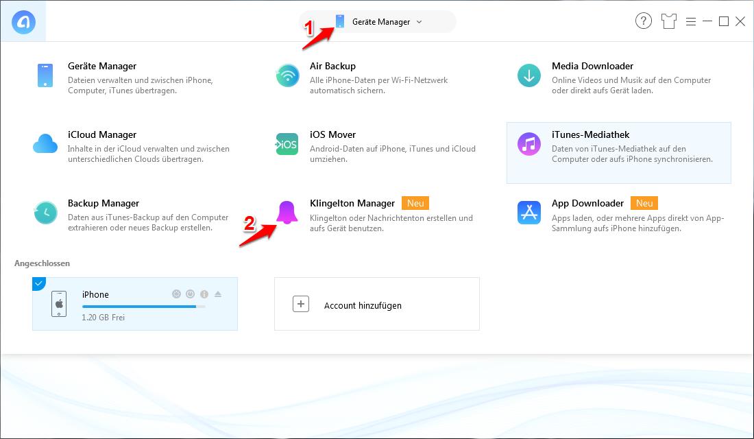 iPhone Klingelton ändern ohne iTunes – AnyTrans verwenden