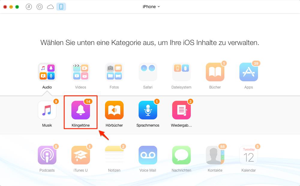 iPhone Klingelton hinzufügen: Klingeltöne antippen – Schritt 2