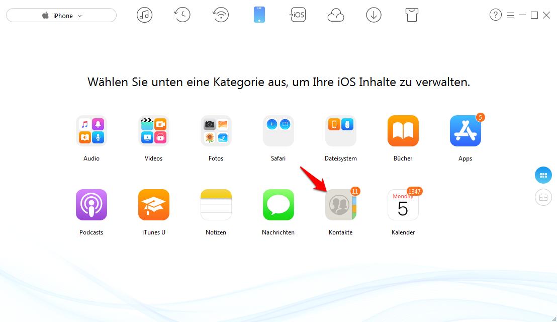iPhone Kontakte auf SIM speichern - Schritt 2