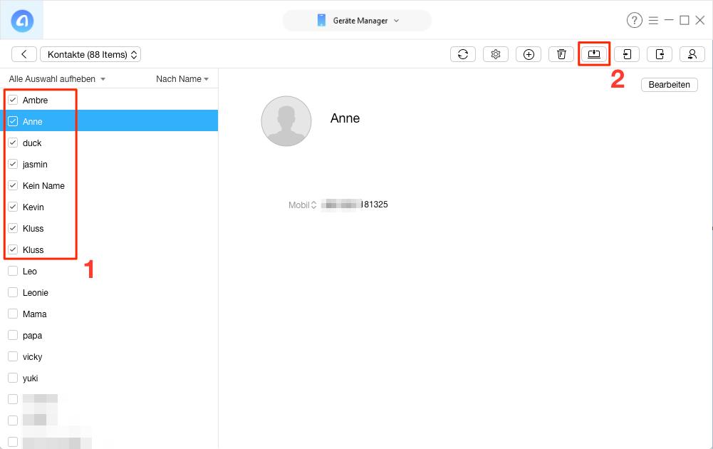 Leicht! iPhone Kontakte ausdrucken – Schritt 2