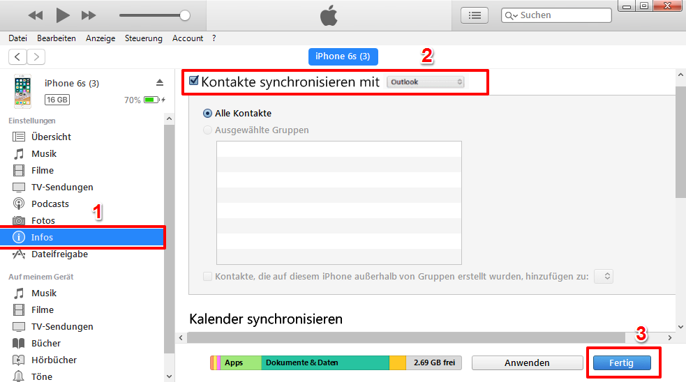 iPhone Kontakte mit Outlook synchronisieren – Mit iTunes