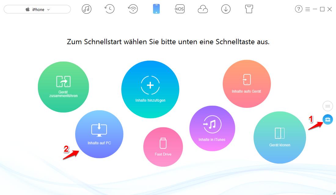 iPhone Kontakte sichern auf PC – Schritt 1