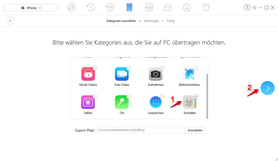 Alle iPhone Kontakte auf PC – Schritt 2